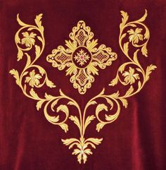 Tambour Embroidery, Hand Work Embroidery, Types Of Embroidery, Gold Embroidery, Machine Embroidery Applique, Embroidery Fashion, Free Machine Embroidery Designs, Altar Design, Stencil Templates