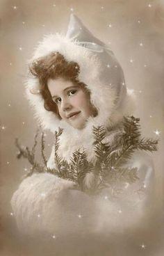 Winter girl - printable image: