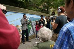 Randy Engstrom, Director of the Office of Arts and Culture, speaks at the mural ribbon cutting ceremony.