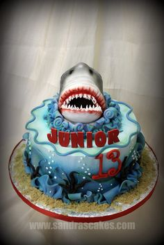 oo ah ah Enjoy this Jaws themed cake for any celebration. Easy to build, looks great at your event and most of all, enjoyable to eat! Shark Birthday Cakes, New Birthday Cake, Themed Birthday Cakes, 6th Birthday Parties, Themed Cakes, 7th Birthday, Parties Kids, Birthday Ideas, Happy Birthday