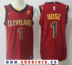 d9e3a136663 Men's Cleveland Cavaliers #1 Derrick Rose Burgundy Red 2017-2018 Nike  Swingman Goodyear Stitched NBA Jersey