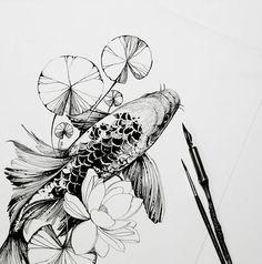 """Mi piace"": 6,229, commenti: 80 - •Diana Severinenko (@dianaseverinenko) su Instagram: "" #koi #koifish #sketch #artmagazine #artwork #artgalery #worldofartists #art_spotlight…"""