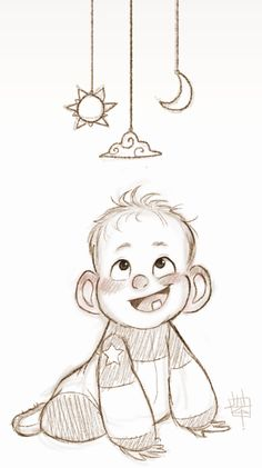 Cute baby sketch by Luigi Lucarelli