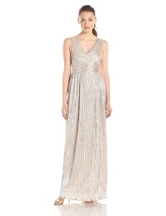 Amazon.com: JS Boutique Women's Pleated Metallic Knit Faux Crossover Sleeveless Gown: Clothing