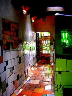 Some unique public toilets at Kawakawa created by Hundertwasser, Northland, New Zealand.