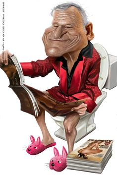 Hugh Hefner , illustration of Ernesto Priego caricature design by Cartoon Faces, Funny Faces, Cartoon Art, Cartoon Characters, Funny Caricatures, Celebrity Caricatures, Celebrity Drawings, Celebrity Pictures, Hugh Hefner
