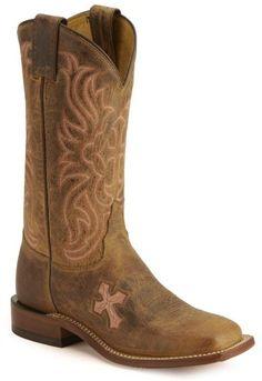 Tony Lama Cross Inlay Cowgirl Boots - Square Toe - Sheplers