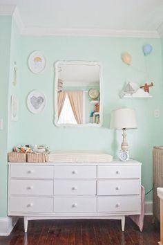 61 Ideas Baby Girl Nursery Dresser Apartment Therapy For 2019 Mint Nursery, Pastel Nursery, Nursery Neutral, Nursery Room, Baby Room, Pastel Room, Whimsical Nursery, Green Kids Rooms, Mint Paint