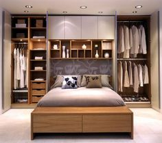 small master bedroom storage ideas | Open shelves or readymade bookcases also offer a way to use the space ...