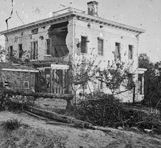 American Civil War Pictures & Photos | Atlanta, Georgia: The shell-damaged Ponder House after the Battle of Atlanta occurring July 22, 1864.