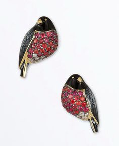 Ilgiz FAZULZYANOV - Bullfinshes Earrings with Rubies and Diamonds.