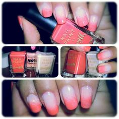 Ombre nails first time try..they're slowly drying! I refuse to let the cold weather dry out my hands! #coral #Ombre #nails #manicure