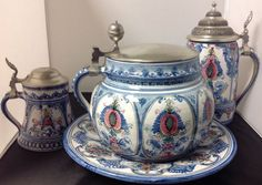 3 pcs. Keck Kermik Ceramic Pottery Stein, 1/2 Stein, Hot Punch Bowl & Underplate #KeckKermik