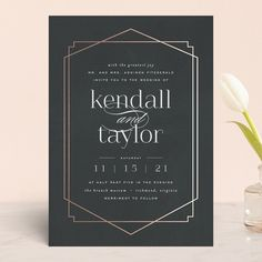 """Again the wording us too formal, but I like the layout, with more art deco typography? """"Vision"""" - Modern Foil-pressed Wedding Invitations in Charcoal by carly reed walker. Wedding Invitation Layout, Gala Invitation, Art Deco Invitations, Foil Stamped Wedding Invitations, Black Wedding Invitations, Wedding Stationary, Invites, Modern Invitations, Wedding Loans"""
