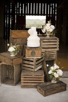 Rustic Wooden Crates Wedding Ideas ★ wooden crates wedding ideas stand for white cake with flowers hey gorgeous events Old Crates, Wooden Crates, Wooden Boxes, Wine Crates, Wine Boxes, Wood Pallets, Wine Barrels, Wooden Barn, Wood Slats