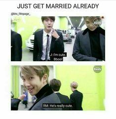 Jin: I'm cute Namjoon: He's cute 😱😫😍 Namjin, Kookie Bts, Bts Bangtan Boy, Bts Jin, Rap Monster, K Pop, Bts Memes Hilarious, Funny, Boy Scouts
