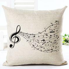 High Quality Fashion Style Cotton Linen Cushion Music Score Print Home Decor Cushion Bed Car Throw Pillows Decorative Cojines >>> Nazhmite na izobrazheniye dlya boleye podrobnoy informatsii.