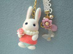 Needle felted bunny doll handbag charm handmade by NozomiCrafts, $24.00
