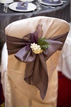 White Hydrangea, Purple Ribbon Chair Decor :  wedding hydrangea for chair sashes reception Flower