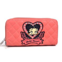 Betty Boop® Quilted Zip-Around Wallet with Rhinestones and Croco Trim