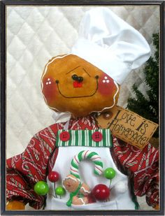 Primitive Christmas Gingerbread Baker Boy w/Apron and Ornies (: