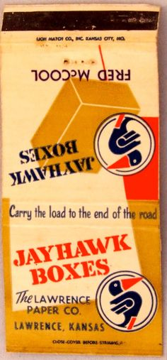 Jayhawk Boxes #frontstriker 30 strike #matchbookcover - To order your Business' own Branded #matchbooks or #matchboxes GoTo: www.GetMatches.com or CALL 800.605.7331 TODAY!