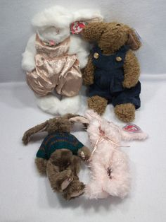 Lot of 4 1993 Ty Attic Treasures jointed bunny bunnies overalls plush toys B #Ty