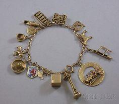 14kt Gold Travel-themed Charm Bracelet