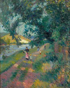 Robert Antoine Pinchon (French, 1886-1943), Promenade sur le chemin de Halage, c. 1920. Oil on canvas, 81 x 65 cm.
