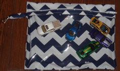 Navy chevron medium zippered pouch with vinyl by ChildishThoughts
