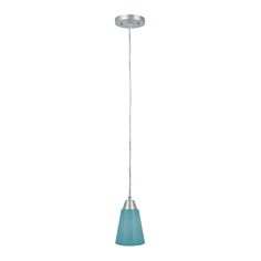 Kel Polished Steel One-Light Mini-Pendant with Aqua Glass