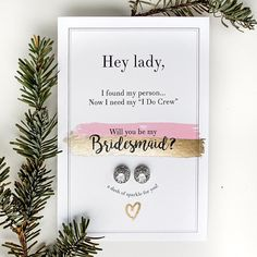 Gold foil bridesmaid card with cute studs! ❤️ Will you be my bridesmaid? Bridesmaid gift, bridesmaid jewelry.