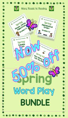 Spring Word Play BUNDLE - now 50% off original price. Kids always enjoy some fun, but it's great when the fun is educational, too! This is a bundled set of four spring word activities. Components: Spring Nouns, Verbs, Adjectives: Grades 1-2 Spring Syllable Count: Grades 1-2 Spring Alphabetical Order: Grades 1-2 Spring Garden: How Many Words Can You Make? Check out this bundled set!