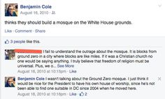 Benjamin Cole resigns after racist comments : Here's his Facebook post saying a mosque should be built for President Obama on the White House grounds: