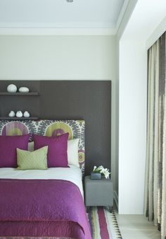 Purple and Grey (slate).  Lovely colour combination for a bedroom.