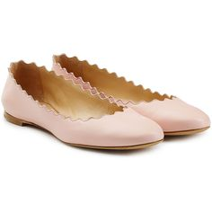 Chloé Scalloped Leather Ballerinas ($295) ❤ liked on Polyvore featuring shoes, flats, rose, ballet shoes, ballerina shoes, round cap, round toe ballet flats and leather flats