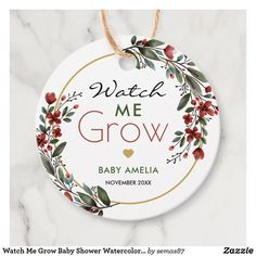 Watch Me Grow Baby Shower Watercolor Floral Favor Tags