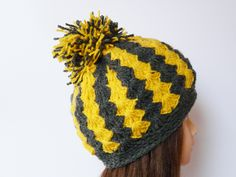 Chunky crochet hat yellow gray soft hat Pom