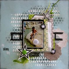 Gesso and mist background with stencils, vellum envelope