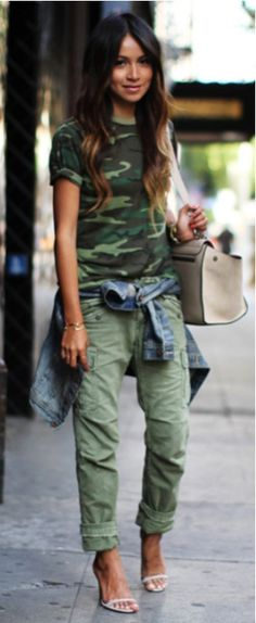 Military Look Heeled Sandals