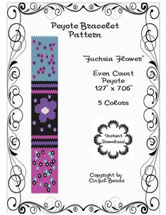 Peyote Bracelet Pattern using Miyuki 11/0 by CinfulBeadPatterns