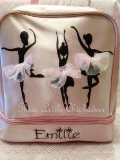 Ballerina Tutu Dancer Pink Backpack Recital Bag Rehersal Bag Ballet Shoe Bag etsy.com/shop/threelittlechickadee