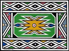 Esther Mahlangu African Design, African Art, Africa Symbol, Indian Patterns, Teaching Art, Sacred Geometry, Arts And Crafts, Diy Crafts, Wall Art