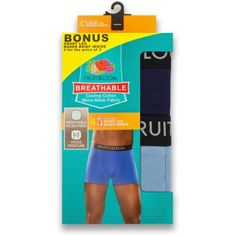 NEW Bonus Pack! Fruit of the Loom Men's Breathable Assorted Color Short Leg Boxer Briefs, 3+1 Bonus Pack, Size: Medium