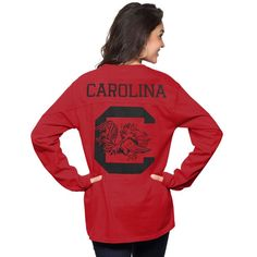 South Carolina Gamecocks Pressbox Women's The Big Shirt Oversized Long Sleeve T-Shirt - Garnet