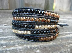 Beaded Leather Wrap Bracelet 4 or 5 Wrap with by BetsyGraceJewelry, $64.00