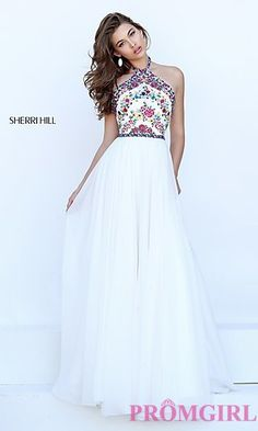 High Neck Halter Open Back Prom Dress by Sherri Hill at PromGirl.com