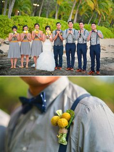 gray and navy groomsmen with yellow boutonnieres