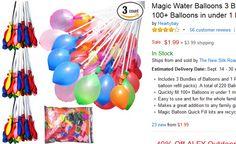 Magic Water Balloons 3 Bunchs + 3 Refill Packs Quick Fill