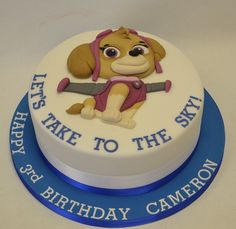 Skye from Paw Patrol 2D Cut Out Cake - Children's Birthday Cakes ... Come and see our new website at bakedcomfortfood.com!